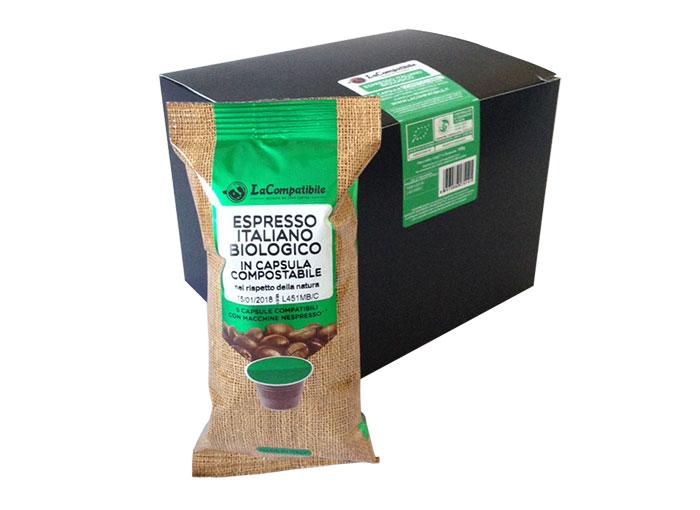 Qualità Espresso Italiano Biologico Compostabili (30 capsule compatibili con Nespresso)
